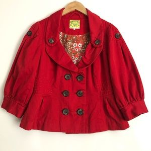 Anthropologie Floreat Cerise Flambé Jacket Size 12